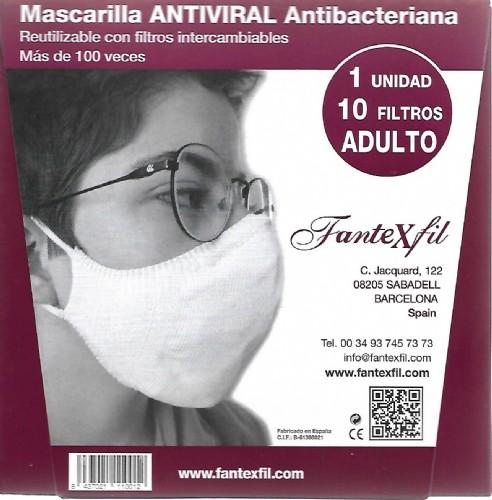 Mascarilla Antiviral Adulto Burdeos Algodón Fantexfil