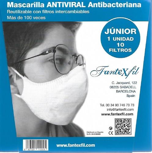 Mascarilla Antiviral Junior Gris Claro Algodón Fantexfil