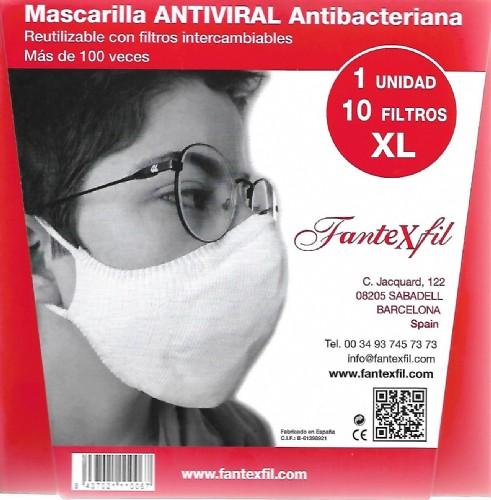Mascarilla Antiviral  Adulto Talla XL Rojo Algodón Fantexfil