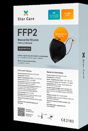 Mascarilla FFP2 Adulto Negra 10 unidades