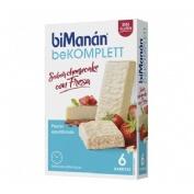 Bimanan komplett - sabor cheesecake con fresa (6 barritas de 35 g)