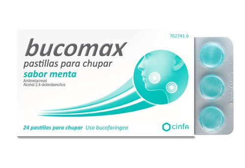 BUCOMAX PASTILLAS PARA CHUPAR SABOR MENTA , 24 pastillas