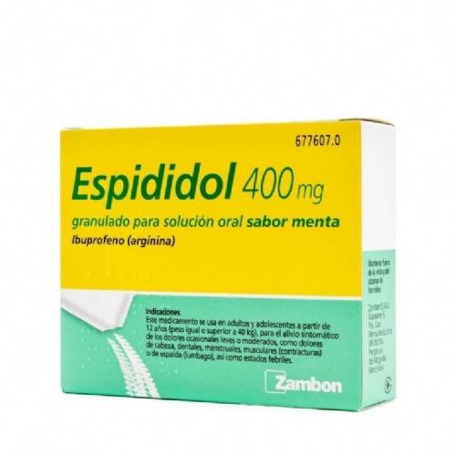 ESPIDIDOL 400 mg GRANULADO PARA SOLUCION ORAL SABOR MENTA , 12 sobres