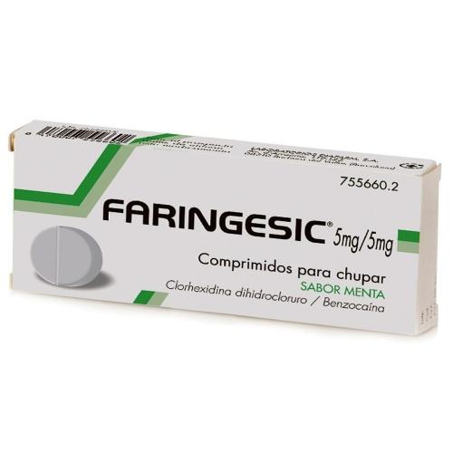 FARINGESIC 5 mg/5 mg COMPRIMIDOS PARA CHUPAR SABOR MENTA 20 comprimidos
