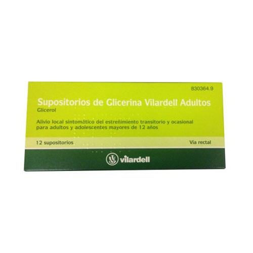 SUPOSITORIOS DE GLICERINA VILARDELL ADULTOS, 12 supositorios