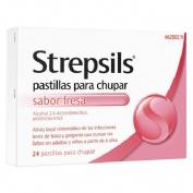 STREPSILS PASTILLAS PARA CHUPAR SABOR FRESA, 24 pastillas