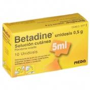 BETADINE UNIDOSIS 0,5 g SOLUCION CUTANEA, 10 envases unidosis de 5 ml